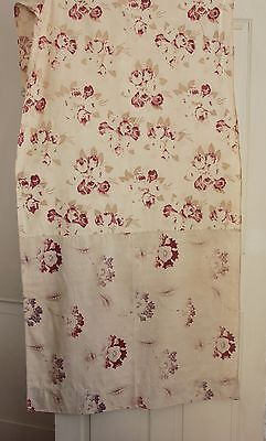 Vintage French c1910-1920 printed cotton RARE gorgeous faded floral panel