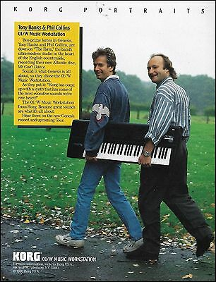 Phil Collins & Tony Banks 1991 Korg 01/W Music Workstation keyboards 8 x 11 ad