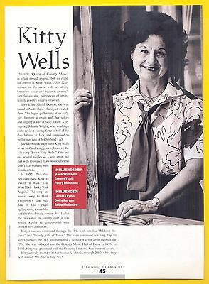 """Kitty Wells, Country Music Star in 2014 Magazine Print Photo Article. """"Pioneers"""""""