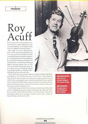 """Roy Acuff, Country Music Star in 2014 Magazine Print Photo Article. """"Pioneers"""""""