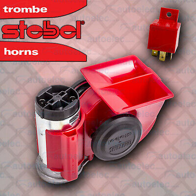 Stebel Red Nautilus Air Horn Trumpet New For Car Truck 12V 12 Volt Loud 139Db
