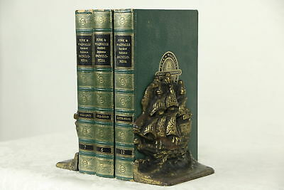 Pair of Cast Iron 1910 Antique Bookends, Bronze Finish Sailing Ships