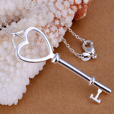Elegant 925 Sterling Silver Filled Key Pendant Necklace N-A603 Gift Woman