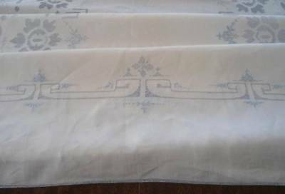Antique Linen Banquet Tablecloth Napkins Madeira Blue Embroidery Drawn Thread