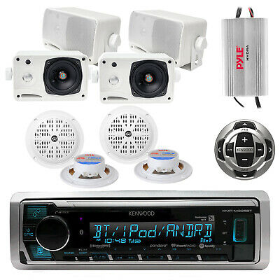 Marine Bluetooth Radio, 4x 3.5'' Speakers, 4x 4'' Speakers, 4 Ch Amp, Remote
