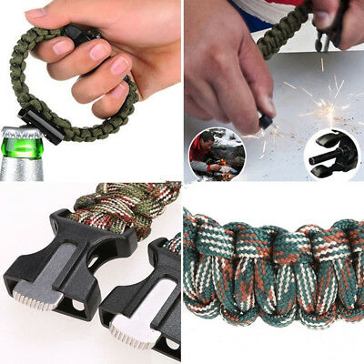 New Rope Paracord Survival Bracelet Flint Fire Starter Compass Whistle Outdoor