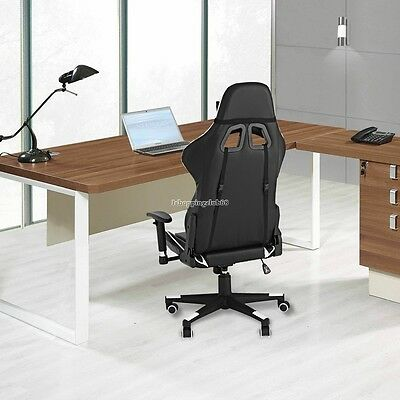 Gaming/Office Chair Desk Black White Executive PC Ergonomic Seat Swivel PU SOFT