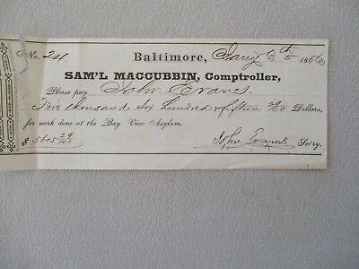 1866 Bayview Insane Asylum Baltimore,Maryland/John Evans Samuel Maccubbin Check!