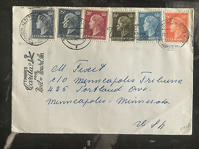 1959 Luxembourg Cover to USA Multi Franked