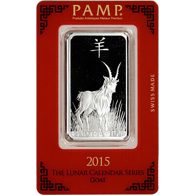 1 oz. Silver Bar - PAMP Suisse - Lunar Year of the Goat - .999 Fine in Assay