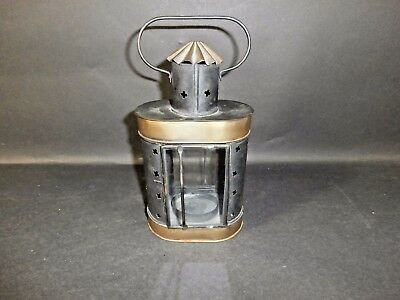 Antique Tin & Brass Hand Held Candle Lantern Glass Front and Back