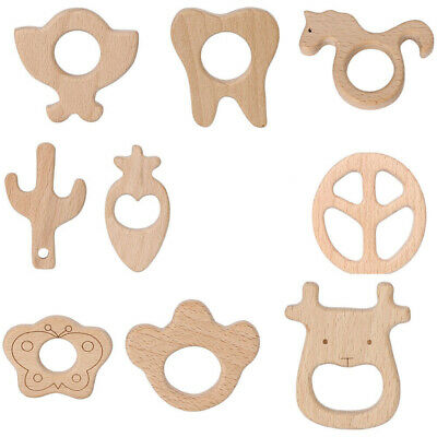 Baby Teether Natural Beech Wooden DIY Shape Ring Craft Chewing Kid Toy