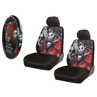 nightmare before christmas car truck front seat covers steering wheel cover set - Nightmare Before Christmas Steering Wheel Cover