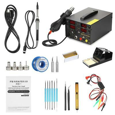 909D+ 4 in 1 Digital SMD Soldering Rework Station DC Power Supply Stand Set P8T6