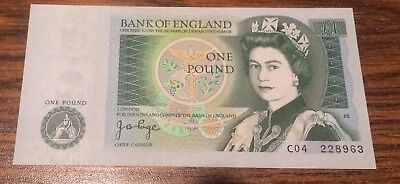 GREAT BRITAIN  : BANK OF ENGLAND ONE POUND NOTE.  1978 gem unc. CU!