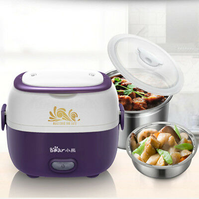 1.3L 220V Electric Portable Mini Steamer Rice Cooker Stainless Steel Lunch Box