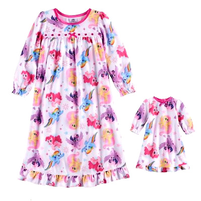 """MY LITTLE PONY 3T 4T Fleece Nightgown PAJAMAS W/18"""" Doll Gown Toddler Girls"""