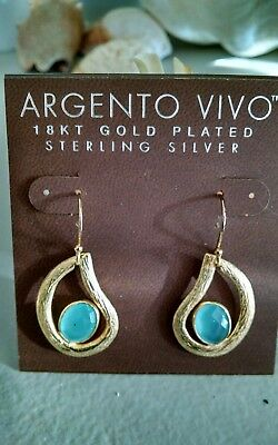 Argento Vivo 18kt Yellow Gold plated Sterling Silver Earrings   blue stones NWT