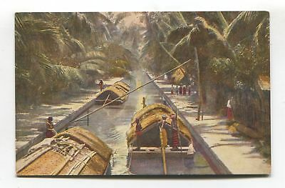 Ceylon - Negombo Canal & Paddy Boats - old postcard, Plate No. 15