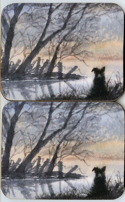 2 coasters Border Collie dog at the lake by the water landscape by Susan Alison