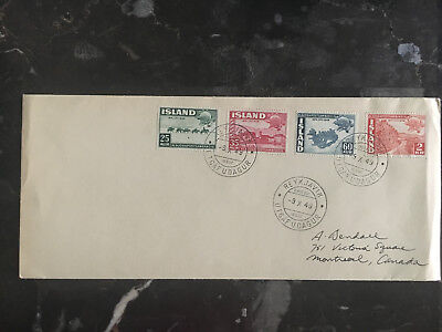 1949 Reyjavik Iceland First Day Cover  # 253-256 FDC to Canada UPU Set
