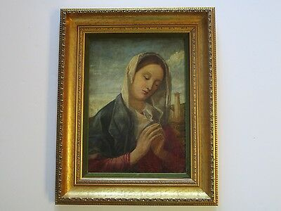 Antique Painting  19Th Century Madonna Religious Icon W City View Portrait Old