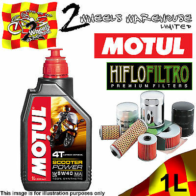 1L Litre Ltr Motul Scooter Power 4T 5W40 Oil+ And Hilfo Hf183 Oil Filter Change