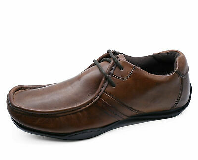 Mens Leather Brown Slip-On Loafers Moccasins Smart Casual Work Shoes Uk 7-11