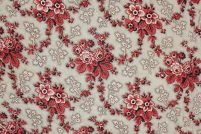 Antique French quilted madder brown textile c1860 fabric material