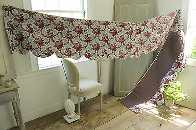 Antique French quilted  1860 large beg hanging valance ~ 15 FEET LONG madder ~