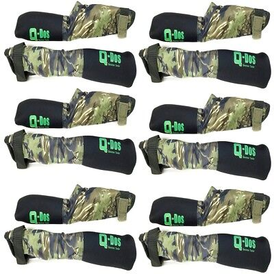 6 Pairs Camo Green Tip & Butt Carp Fishing Rod Protector Sleeves Tackle Q Dos