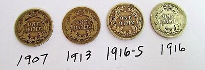 4 Barber U.s. Silver Dimes 1907-1913-1916-1916-S Each Dime Weighs Approx 3 Gr