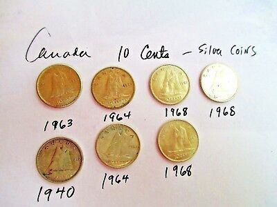 7 Canadian Silver Dime 1940-63-64--64-68-68-68--Most Are Ef-Au Condition