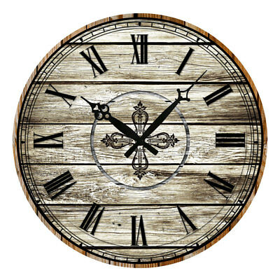 """15"""" Wooden Retro Rustic Wall Clock Vintage Style Home Art Decor Round Watches"""
