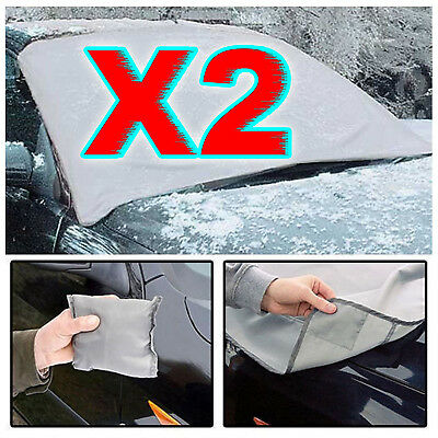 2 X Magnetic Car Windscreen Cover Ice Frost Shield Snow Protector Sun Shade Van