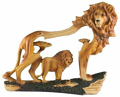 Lion Carved Wood Look Figurine Resin 9 Inch Long New In Box