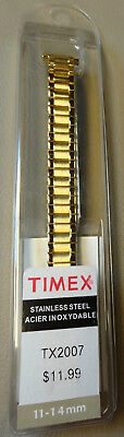 New Womens Timex Stainless Steel Expansion 11-14mm Yellow Gold Tone Watch Band