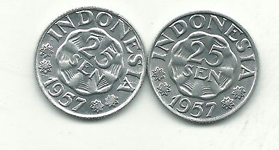 High Grade Lot Of 2 Bu 1957 Indonesia 25 Sen Coin-Nov483