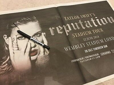 **taylor Swift Reputation Promo World Tour Wembley 2 Page Newspaper Pullout**