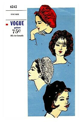 Vintage Vogue  Millinery Hat Snood Beret Fabric material sewing pattern # 6242