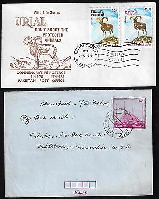PAKISTAN 1960's 70's OFFICIAL ON PAKISTAN STATE SERVICE COVER + UPRATED AIR LETT