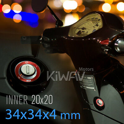 KiWAV alloy Ignition Switch Cover red for Vespa LX LXV S ET4 GTS GTV