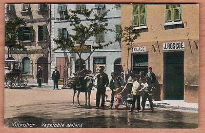 GIBRALTAR Vegetable Sellers + John Brinsmead Pianos Shop Unused Postcard