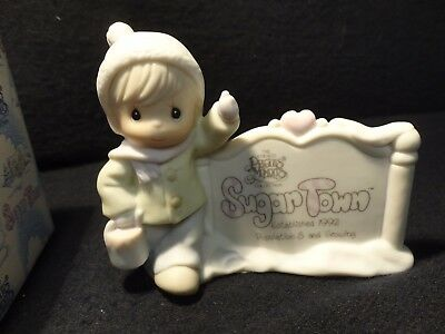 VTG 1992 Precious Moments Figurine Sugar Town Sam Butcher Painting Sign 529567