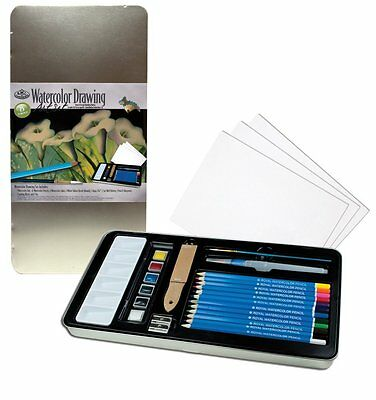 Royal & Langnickel Watercolour Drawing Art Set - Pans, Pencils, Brush, Beginners