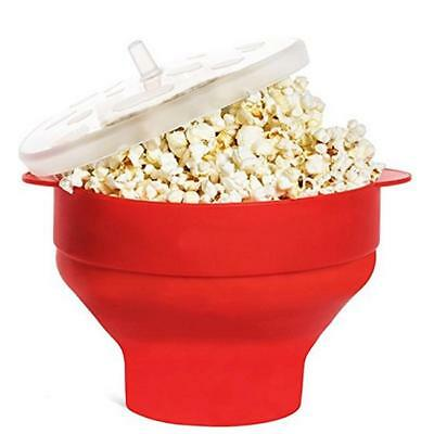 Silicone Microwave Popcorn Popper Maker Collapsible Hot Air Machine Bowl Red LG
