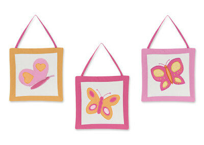 Wall Art Decor Hanging for Sweet Jojo Pink Orange Butterfly Baby Kid Bedding Set