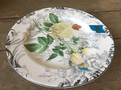 Rose Toile American Atelier Salad Plate #B Floral 5232 Porcelain White Butterfly