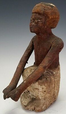 Ancient Egyptian Carved Wooden Boatman Figure W/ Articulated Arms - Authentic