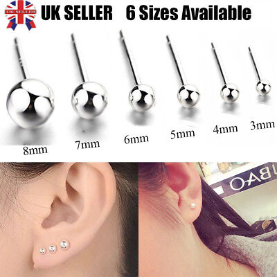 Pair 925 Sterling SILVER Plated EARRINGS Plain Ball Stud WOMENS MENS Small Tiny